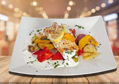Lazac steak narancsos, currys mártással tagliatellevel